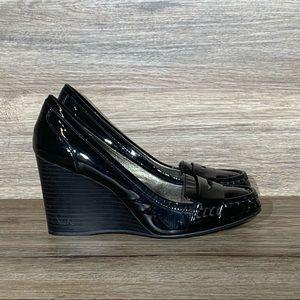Coach Nela Black Patent Leather Wedge Sz- 7.5